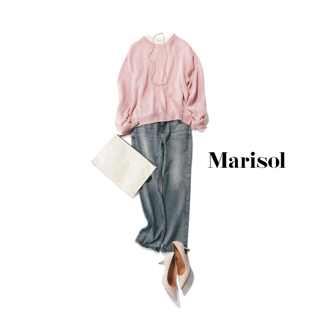 40代ファッション  ピンクニット×デニムパンツコーデ