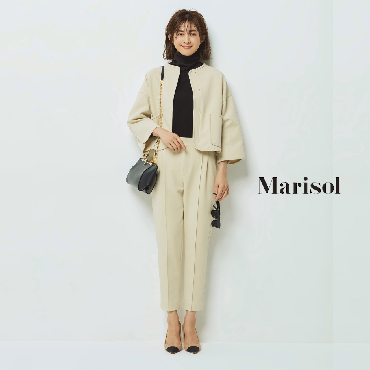 40代ファッション ノーカラージャケット×九分丈パンツコーデ