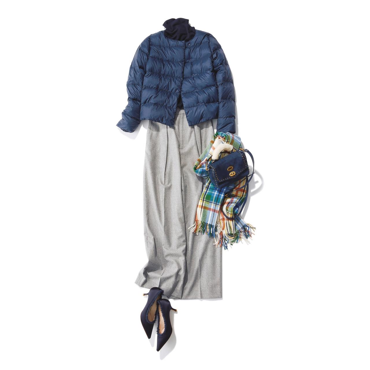 ファッション ノーカラーダウンジャケット×パンツコーデ