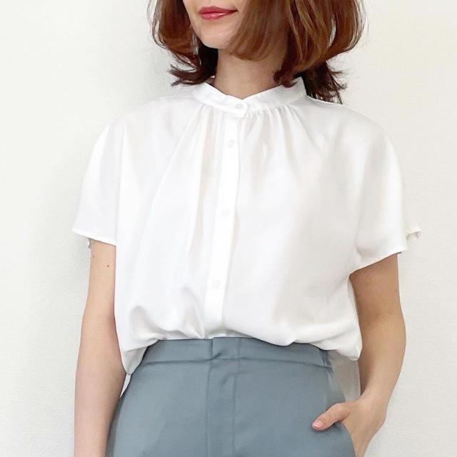 GU エアリーバンドカラーシャツ ホワイト