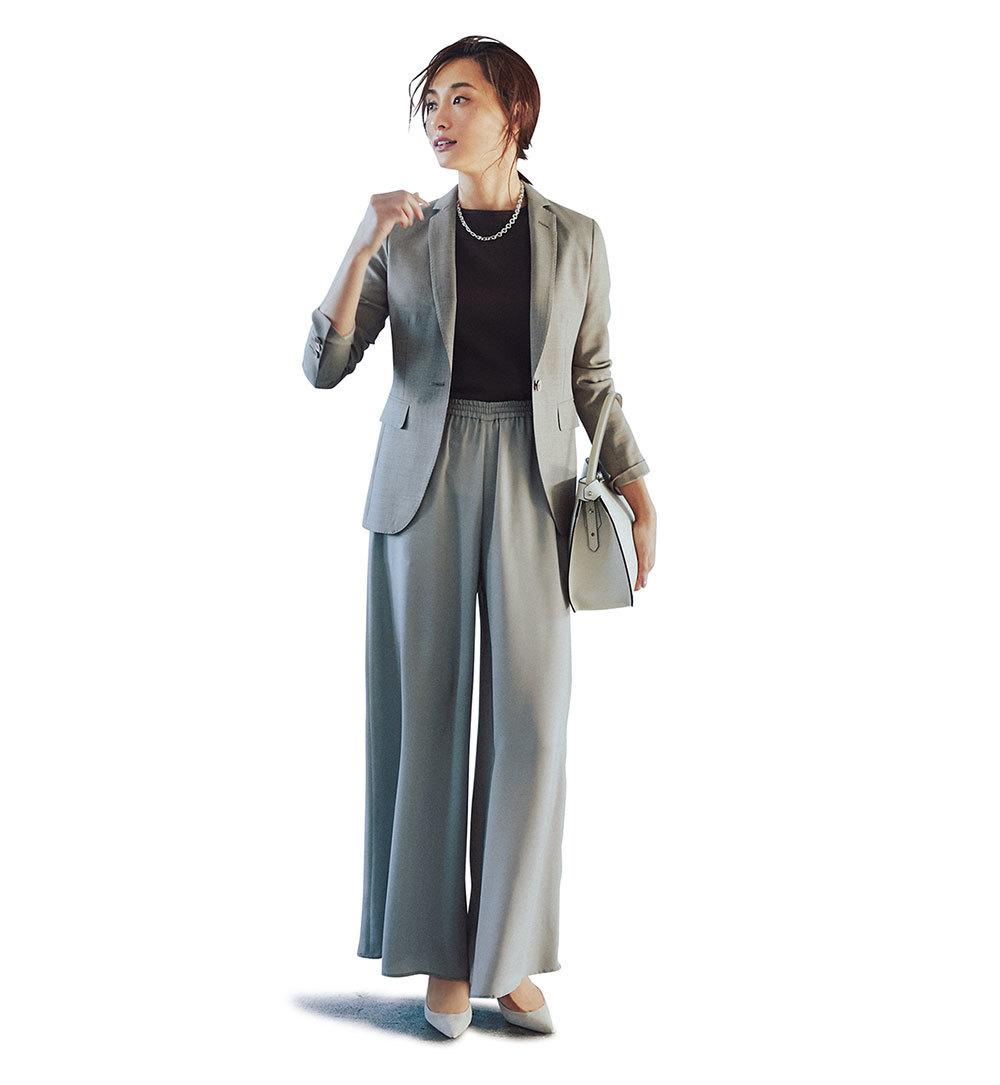 旬アイテムの「ジャケット」にパンツを合わせる日、女っぽさをどう足す?_1_1-1
