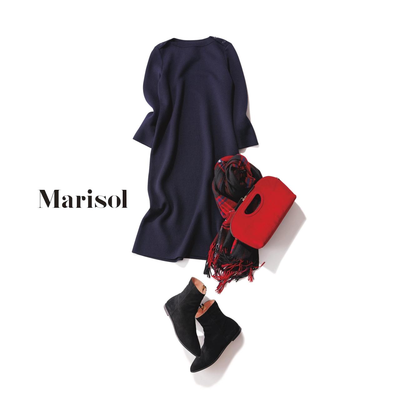 40代ファッション ニットワンピース×ブーツコーデ