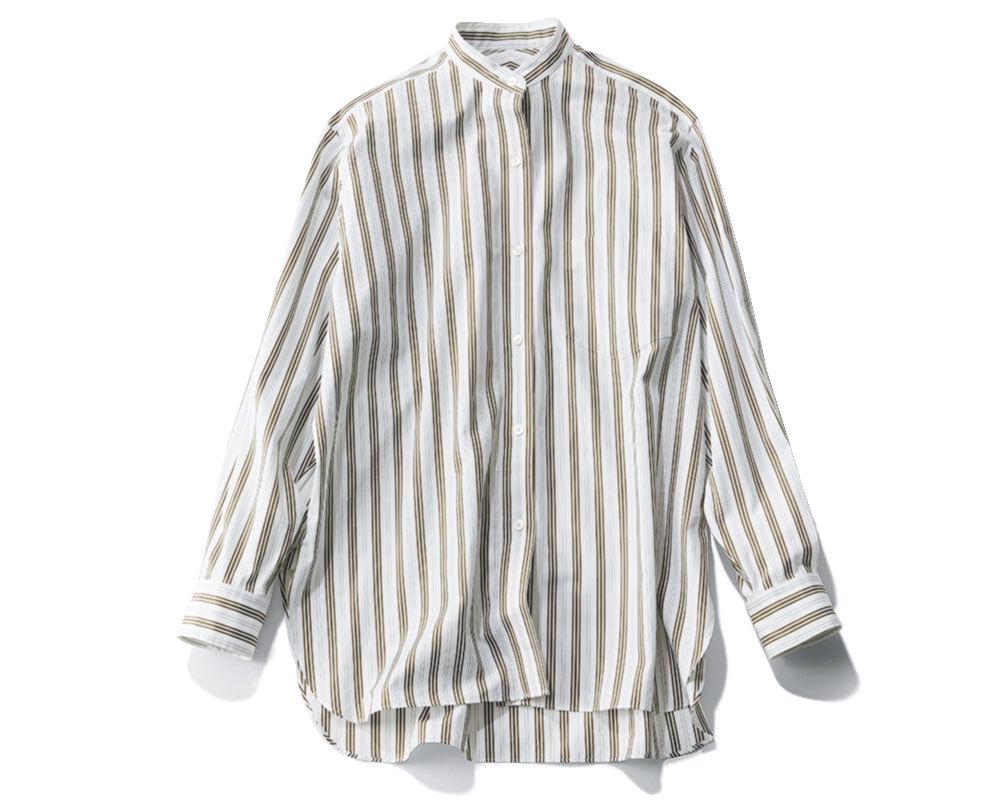 リモートトップス「ストライプ柄 バンドカラーシャツ」3