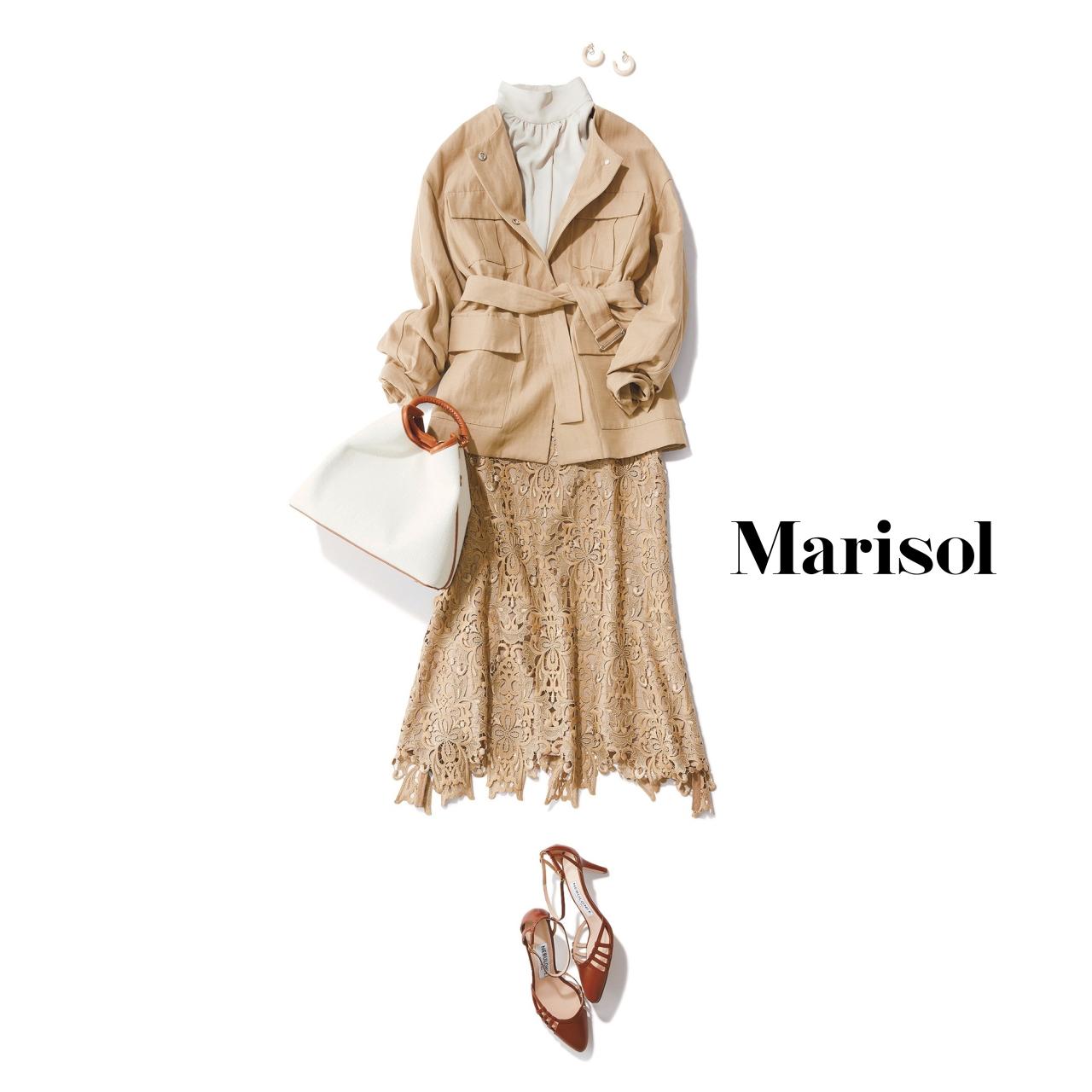 40代ファッション サファリジャケット×ベージュレーススカートコーデ