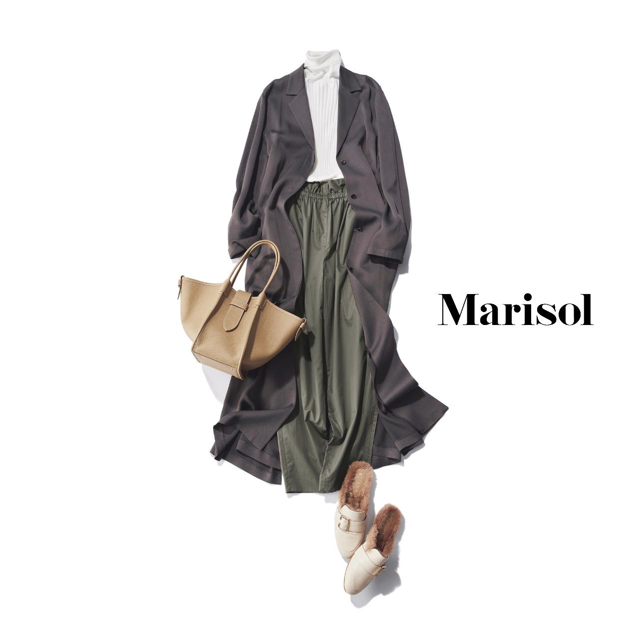 40代ファッション デニムジャケット×赤ニット×ロングスカートコーデ