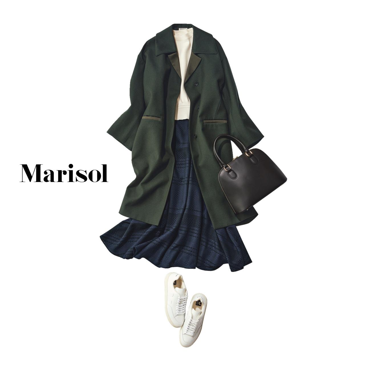 40代ファッション スウェット×スカート×コートコーデ