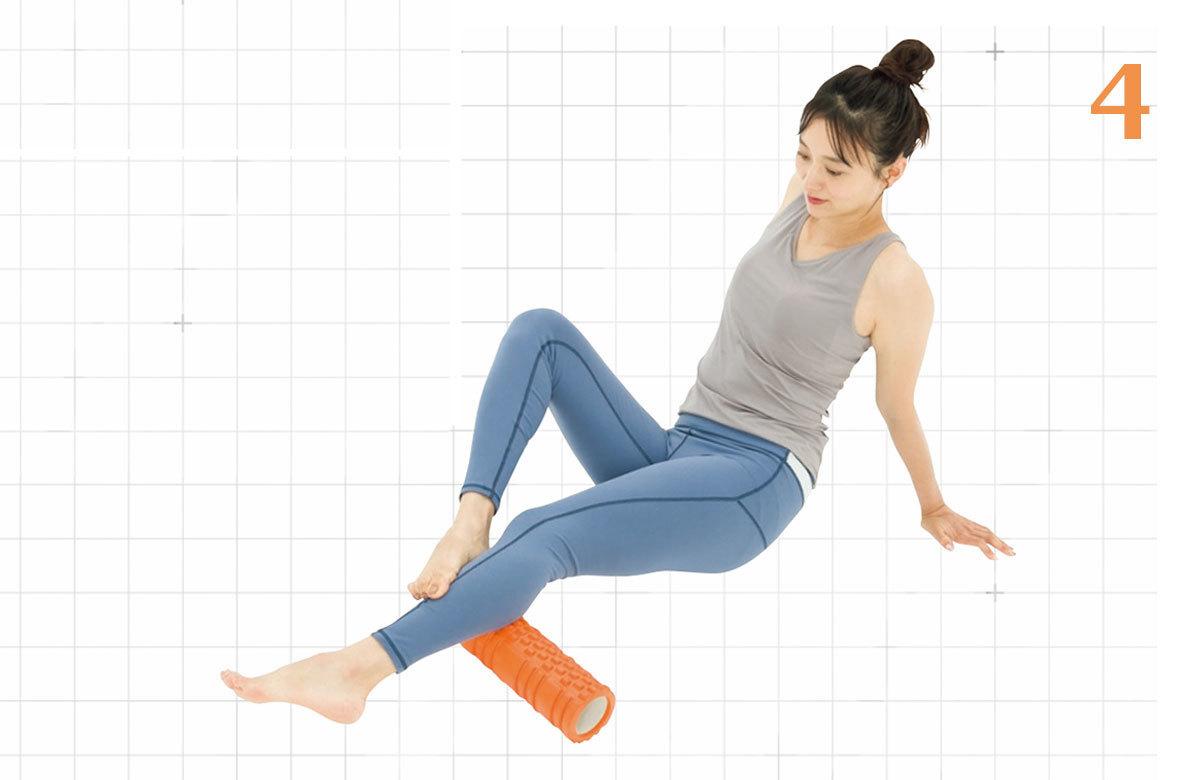 4.余裕があれば、左のすねに右足を置き、2、3と同じように左足を内側、外側に動かす。