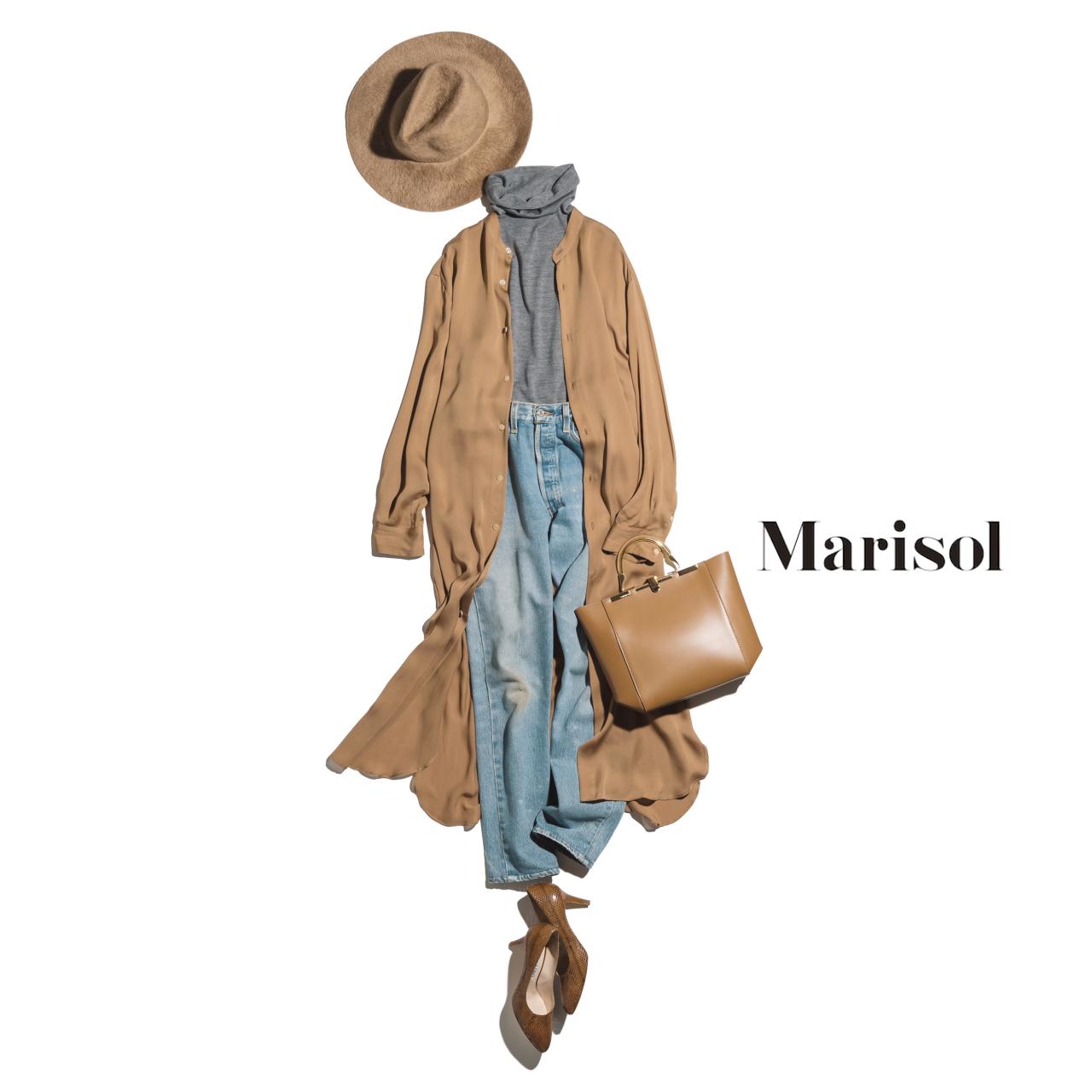 ファッション シルクシャツワンピース×デニムコーデ