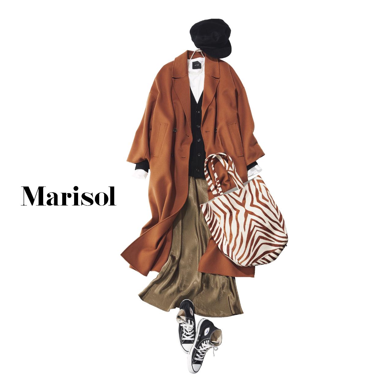 40代ファッション  ブリックカラーコート×ロングスカート×スニーカーコーデ