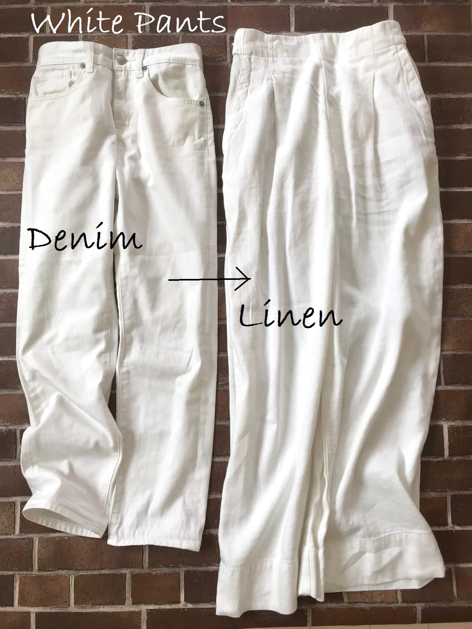 ホワイトデニムとcoenのパンツを合わせた画像