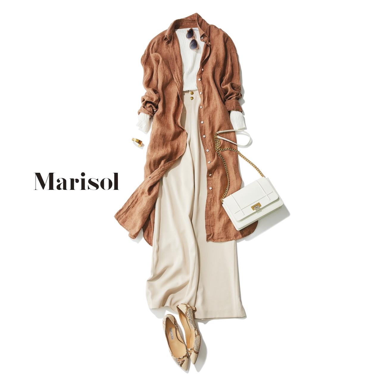 ファッション ×ワイドパンツコーデロングシャツ
