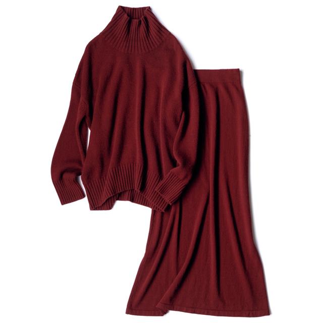 ロングスカートのセットアップ。  ニット¥94,000・スカート¥68,000/アパルトモン 青山店(カネッサ)