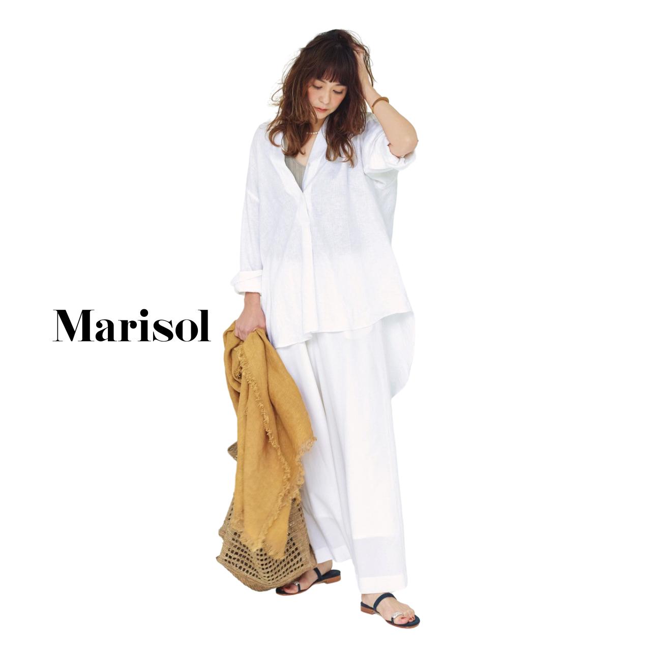 40代ファッション 白シャツ×白パンツコーデ