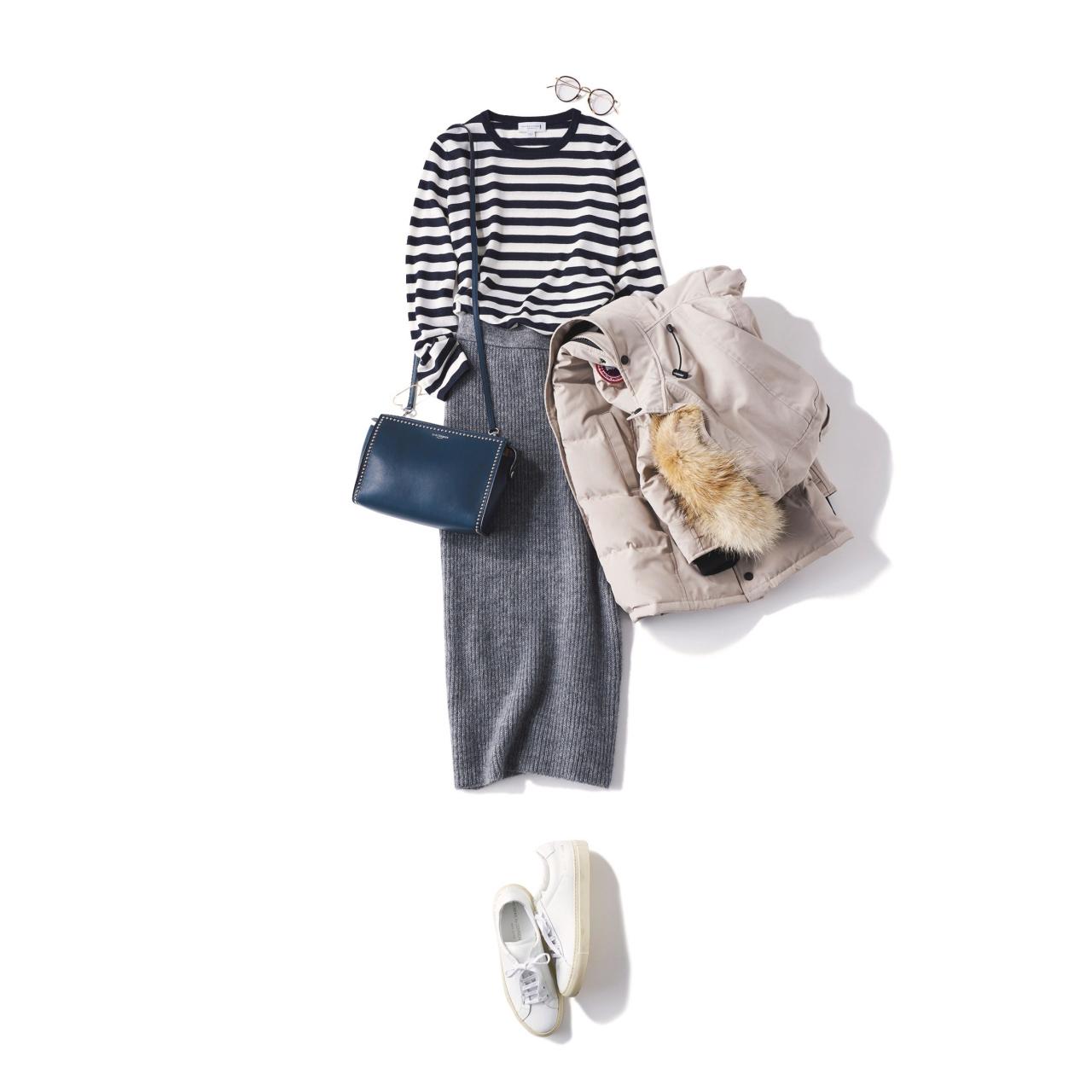 ボーダートップス×タイトスカート&ショルダーバッグのファッションコーデ