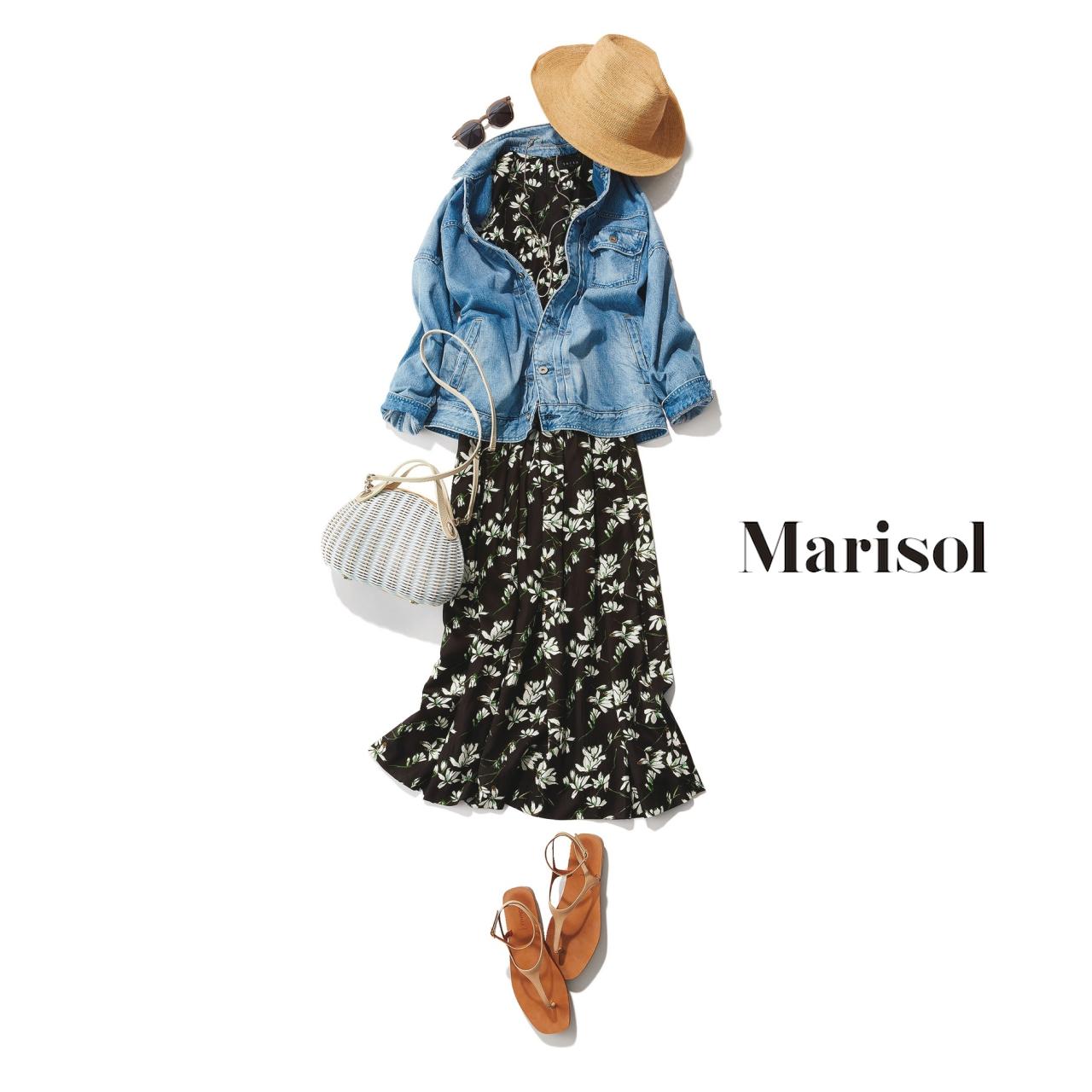 40代ファッション デニムジャケット×花柄ワンピース×帽子コーデ