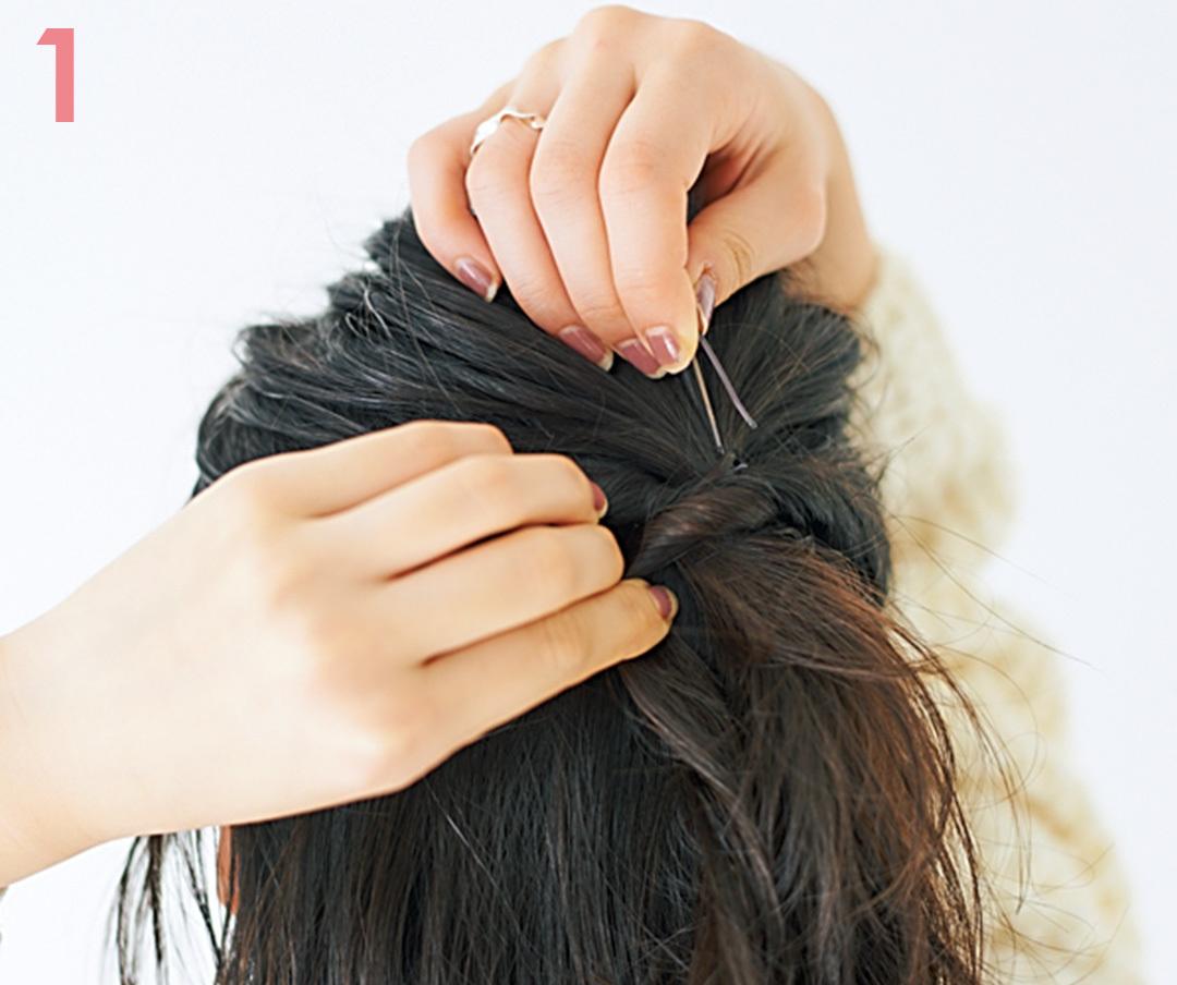 髪が少ない&ペタンコ髪のヘアアレンジ★ダブルハーフアップで簡単ふんわりヘア実現!_1_6-1