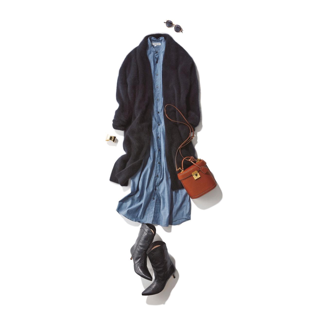 ロングカーディガン×ワンピースのファッションコーデ