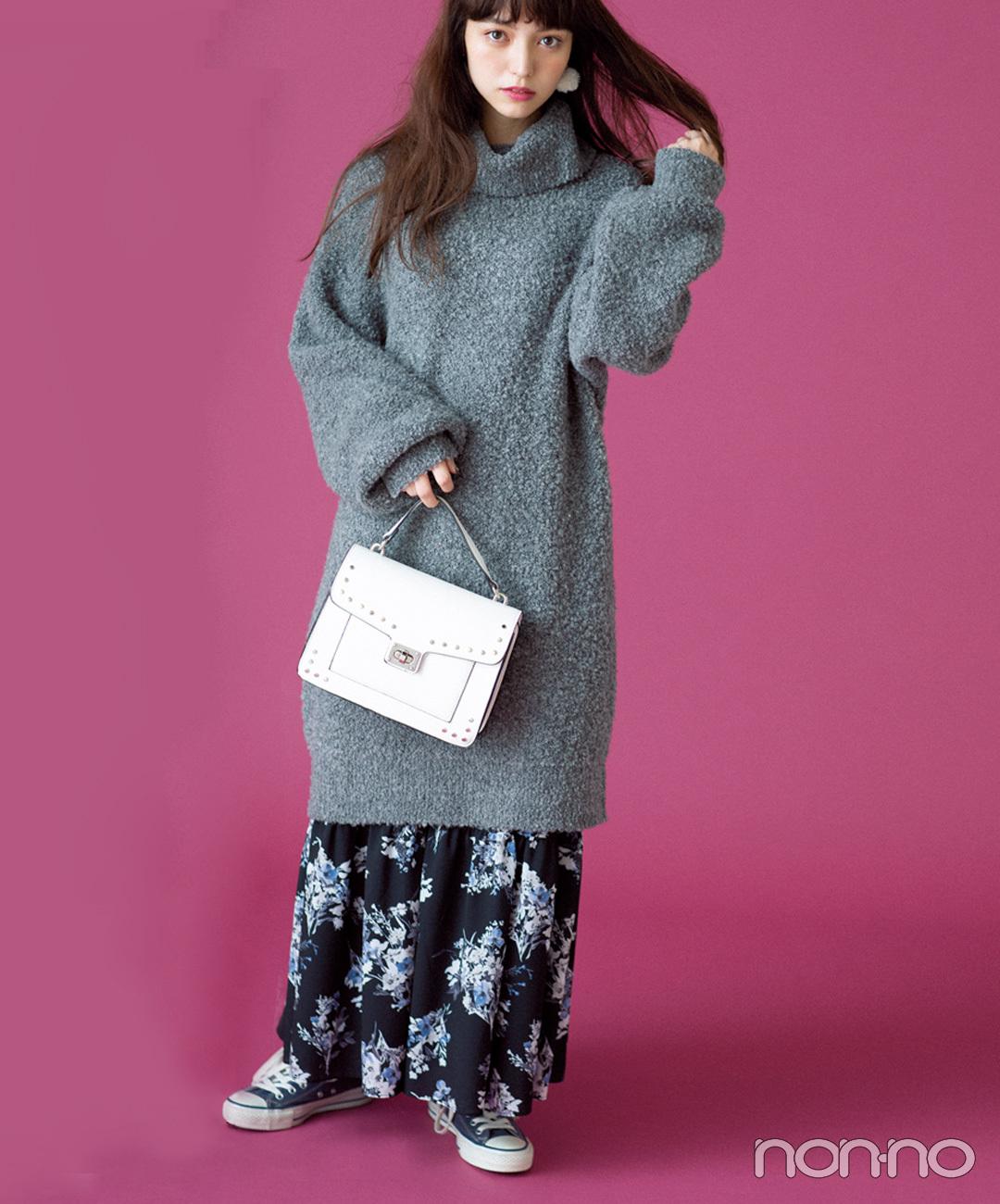 【冬のスニーカーコーデ】ニットワンピースとロングスカートで作る、甘めゆるずるが新鮮