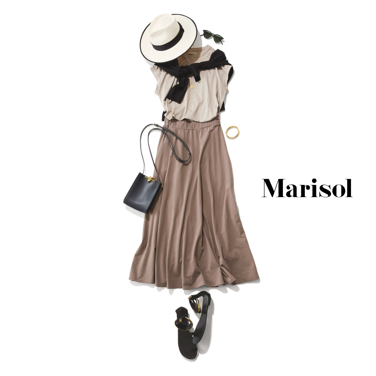 40代ファッション カットソー×マキシ丈スカートコーデ
