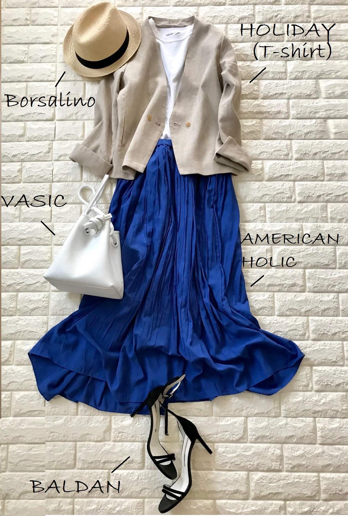 レプシィムのジャケットときれい色スカートを合わせたフェミニンコーデ