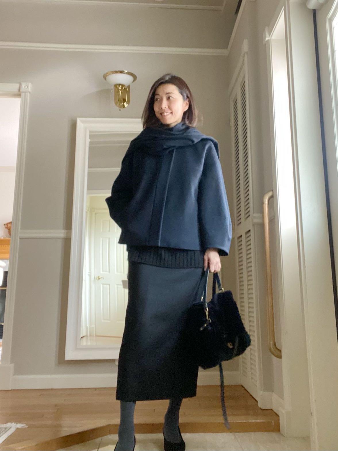 黒ロングタイトスカートとショートコート_1_1