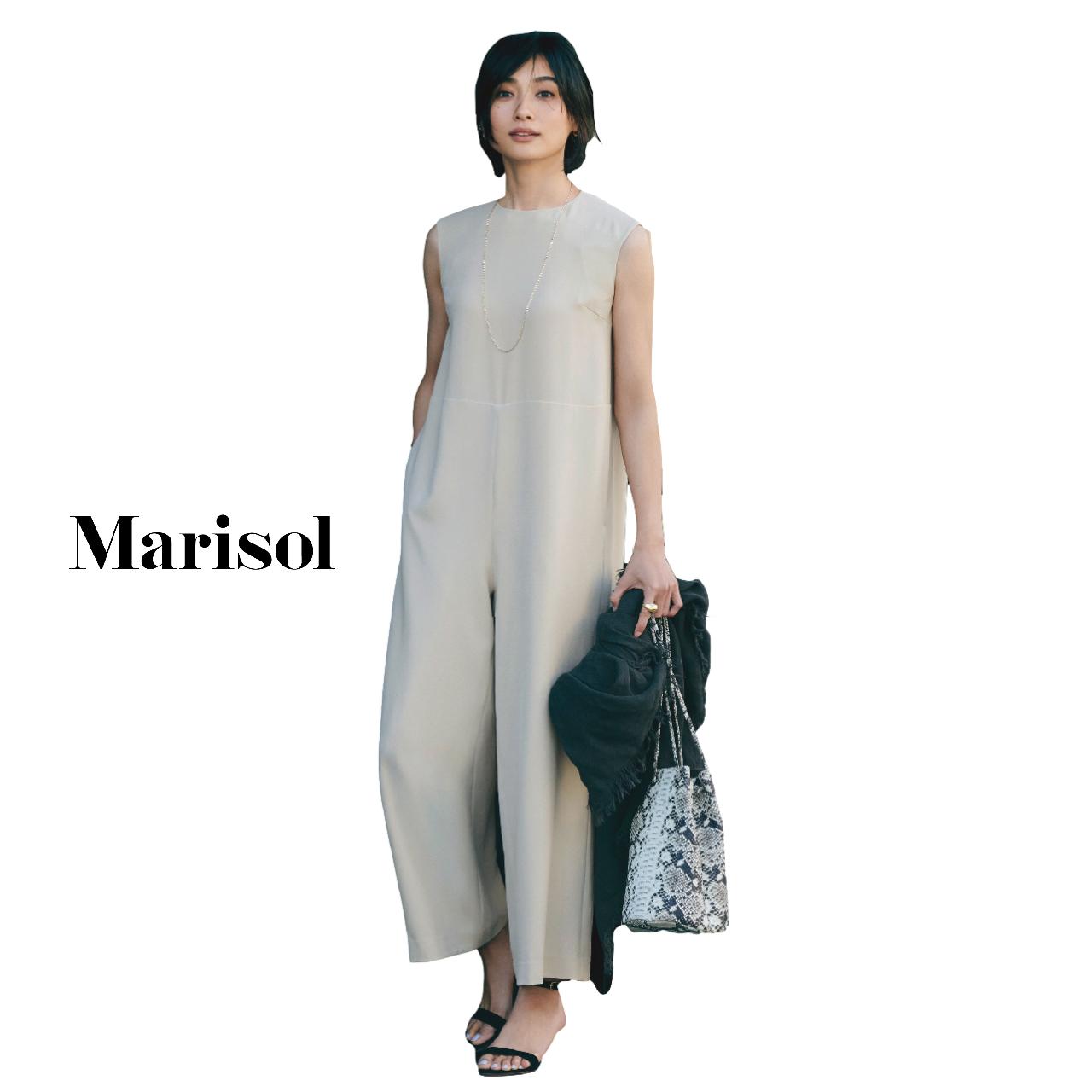40代ファッション  オールインワン×ストールコーデ