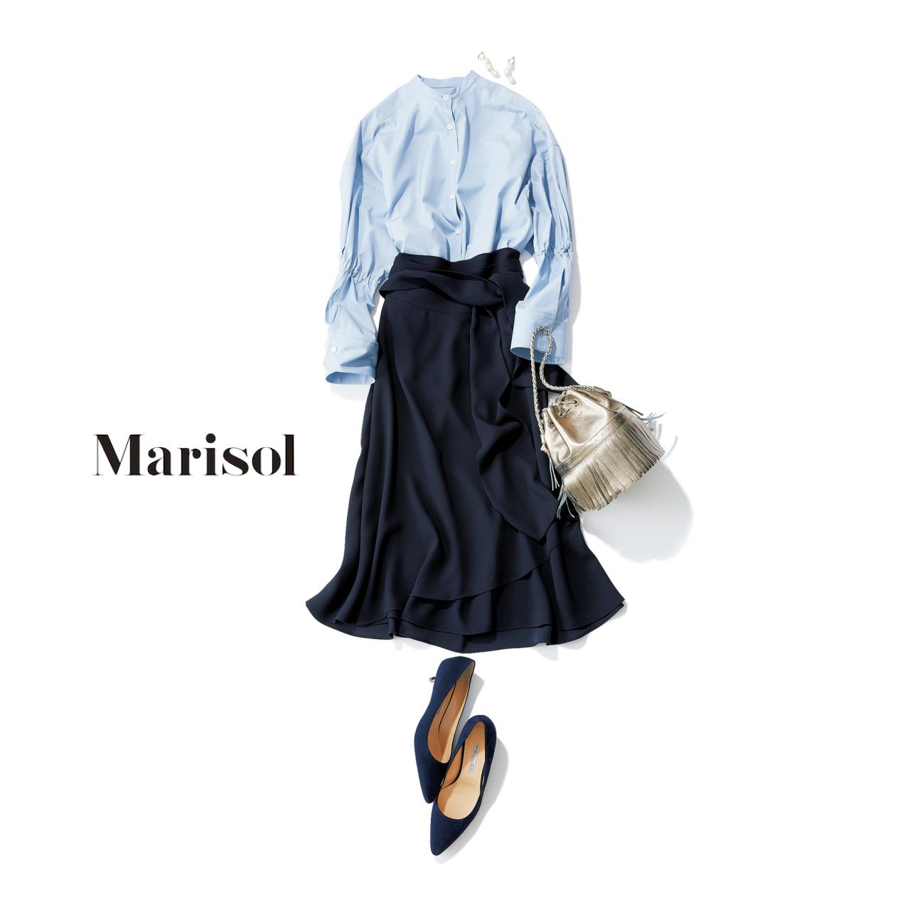 ファッション ブルーシャツ×フレアスカートコーデ