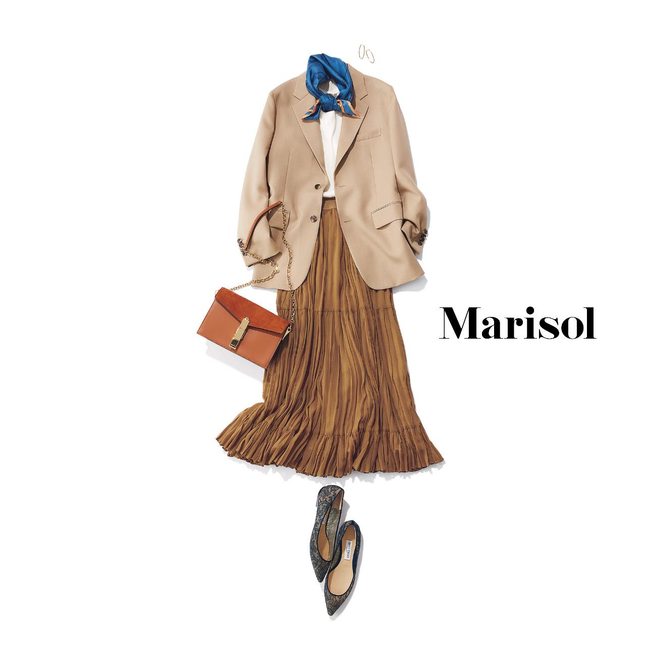 40代ファッション  ベージュジャケット×ブラウンプリーツスカート コーデ