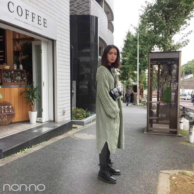 佐谷戸ミナはニットコート+ドクターマーチンで秋コーデ♡【モデルの私服】_1_1