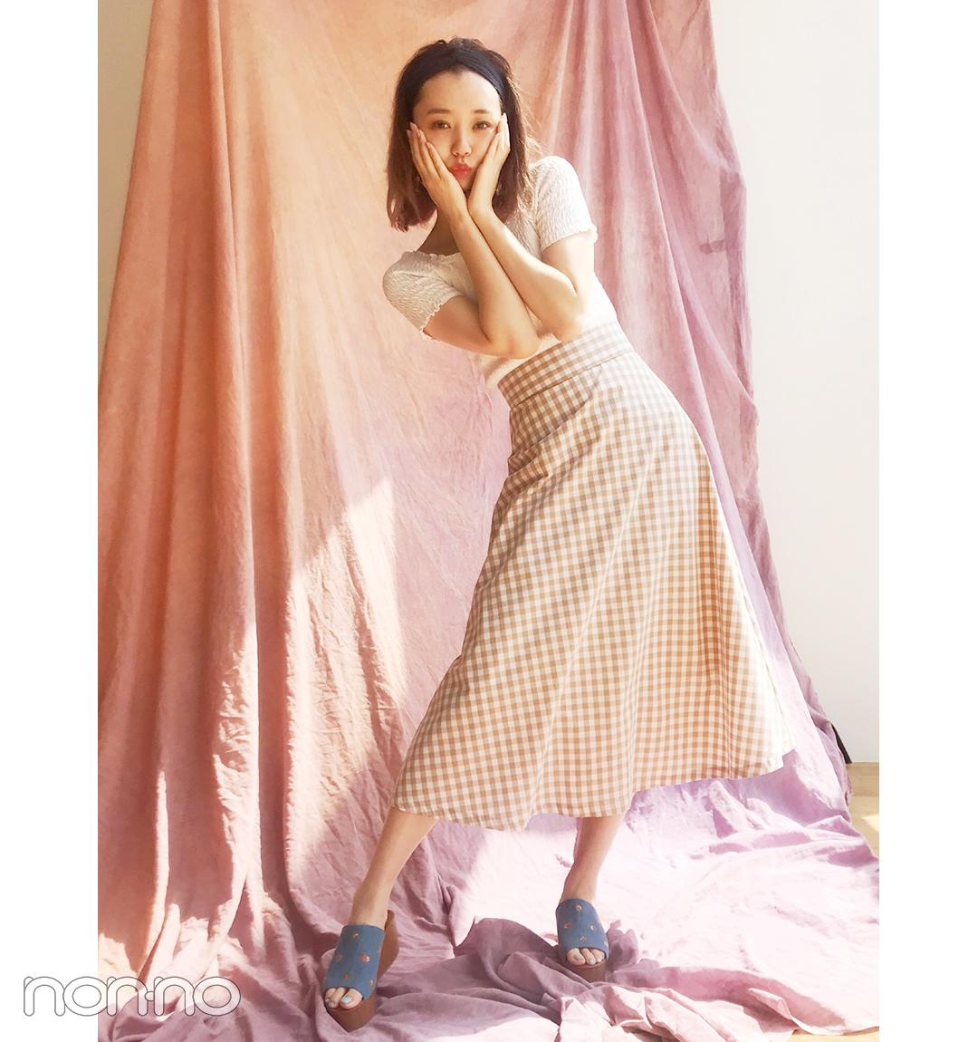 江野沢愛美はギンガムスカート×サボミュールの全身GU今っぽコーデ【毎日コーデ】_1_1