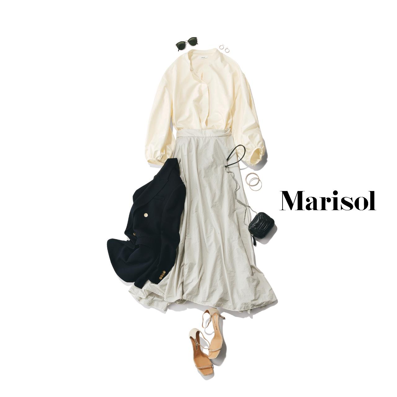 40代ファッション  シャツ×スカート×サンダルコーデ