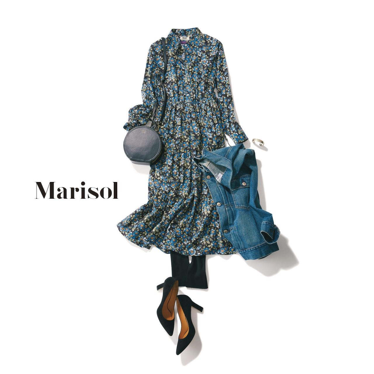 40代ファッション 花柄ワンピース×レギンスコーデ