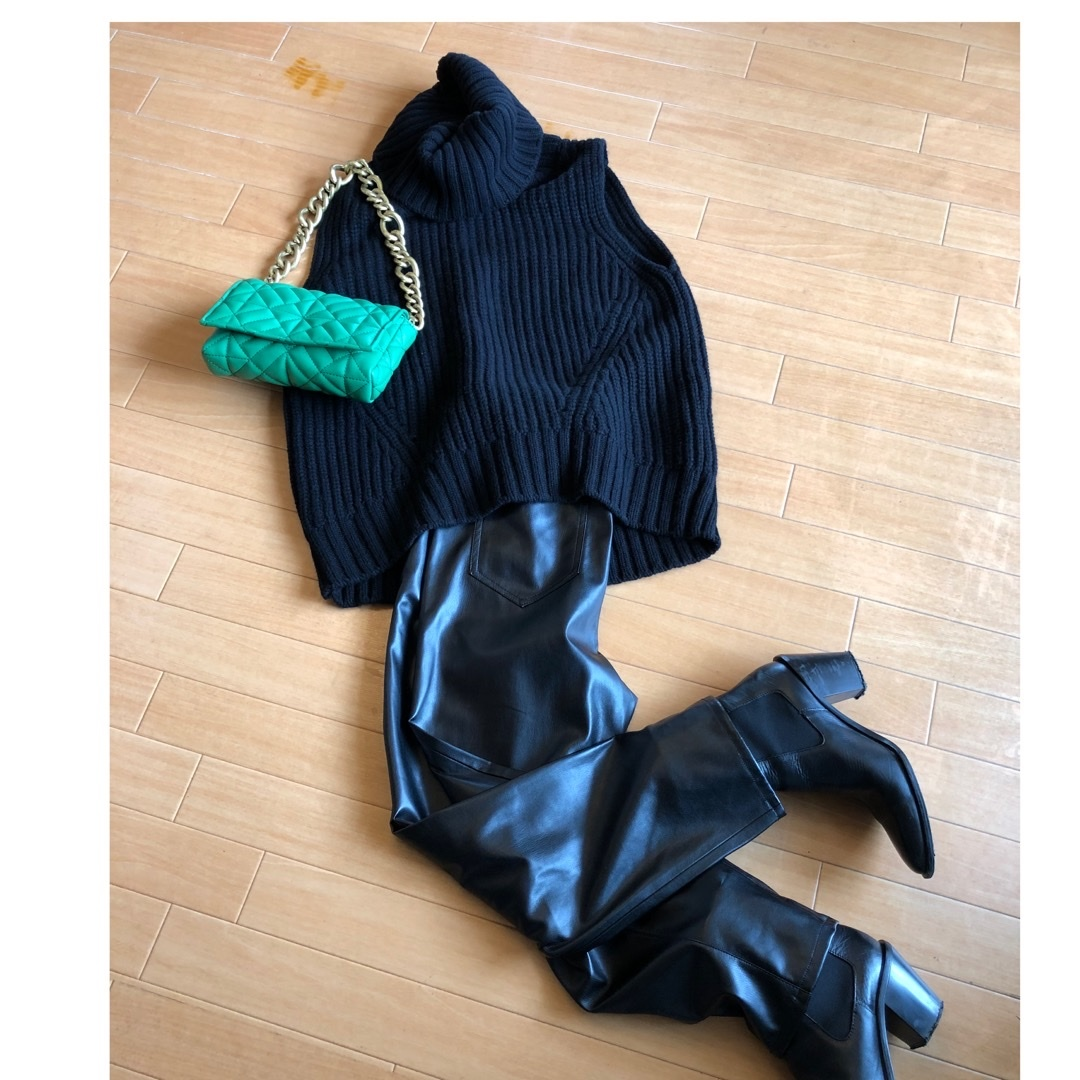 """ZARA leather pants"".でautumn fashion_1_2"