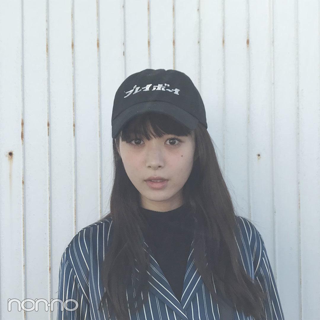 馬場ふみかの今日のコーデは古着のパジャマシャツ+プレイボーイキャップ♡【モデルの私服スナップ】_1_2-1