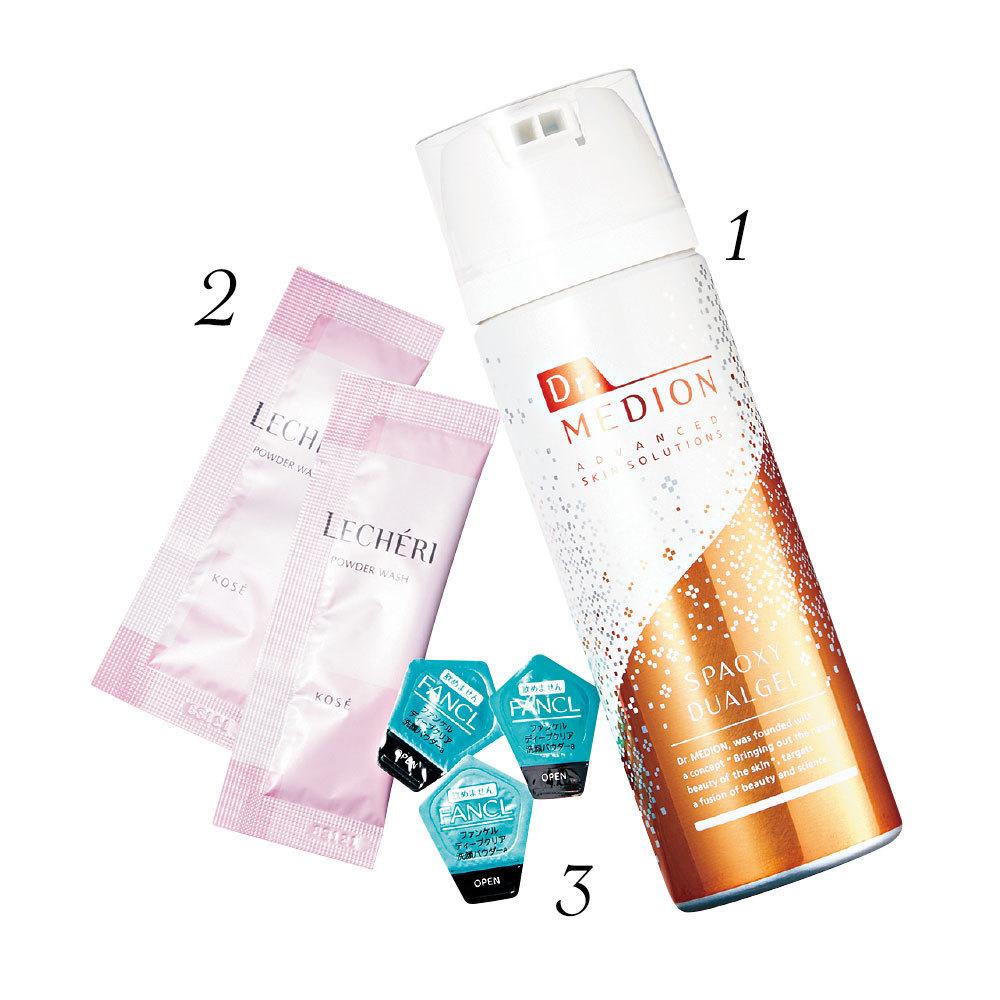 ドクターメディオン スパオキシデュアルジェル100g、ルシェリ 酵素洗顔パウダー0.4g×32包、ディープクリア 洗顔パウダー30個
