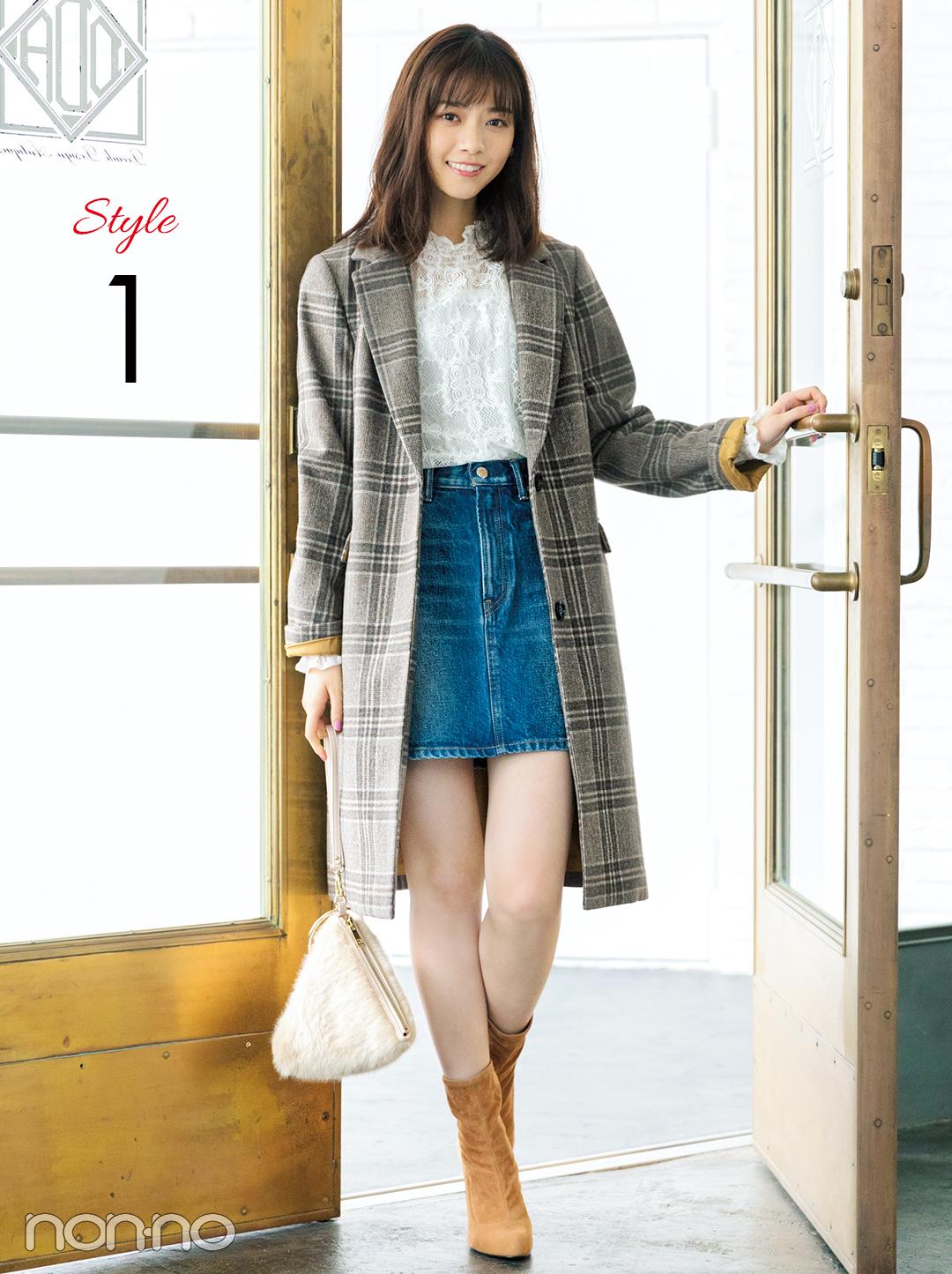 西野七瀬の真冬コーデはチェックコート×ミニ丈デニムスカート!_1_2