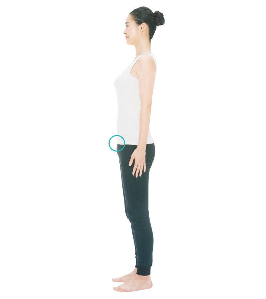 おへその上を締めるイメージでおなかを引っ込め、グッとおしりの穴を締める。体の中心に一本の軸が通ったような感覚を感じるはず。これが正しい姿勢。