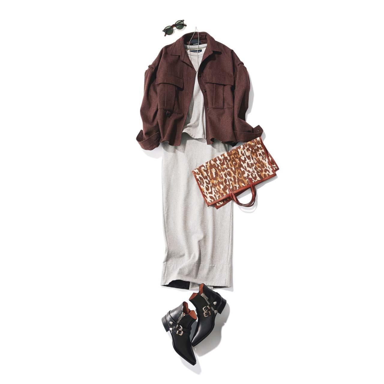 ジャケット×ロングタイトスカート×黒のショートブーツコーデ