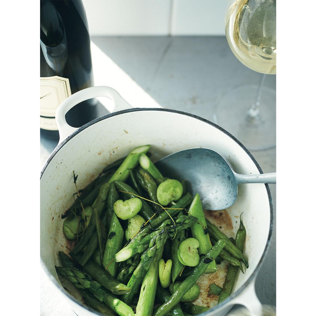 オーストリアワイン×緑野菜のオイル蒸し1