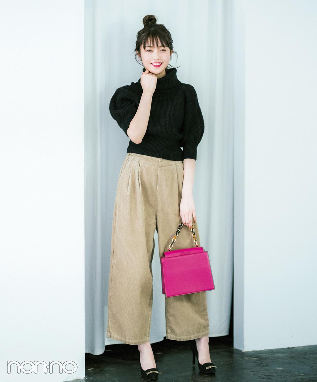 【パンツコーデ】コーデュロイワイドパンツは差し色バッグで女の子らしさ倍増!