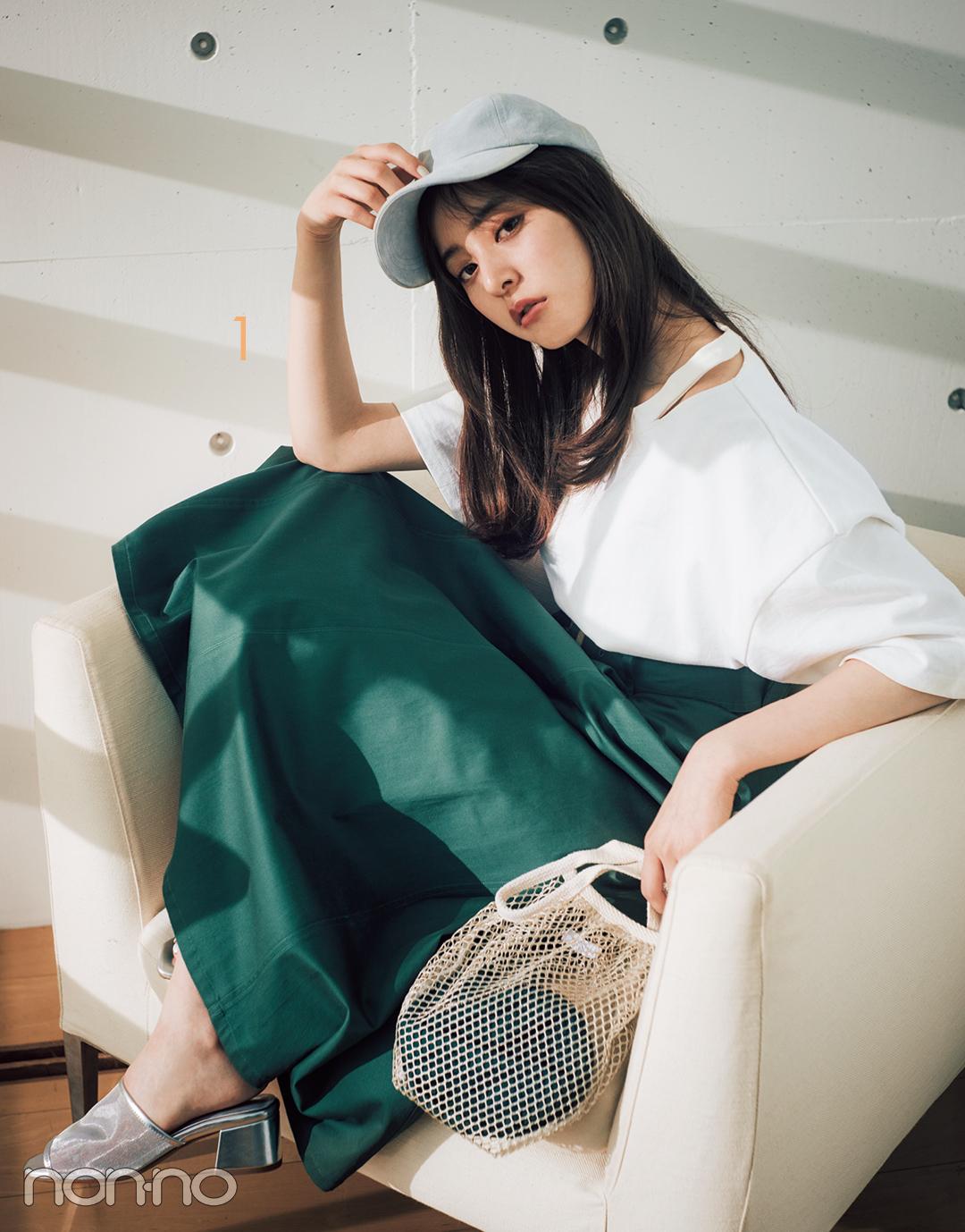 新木優子のシンプル白Tシャツ着回しコーデ、7通り! _1_3-1