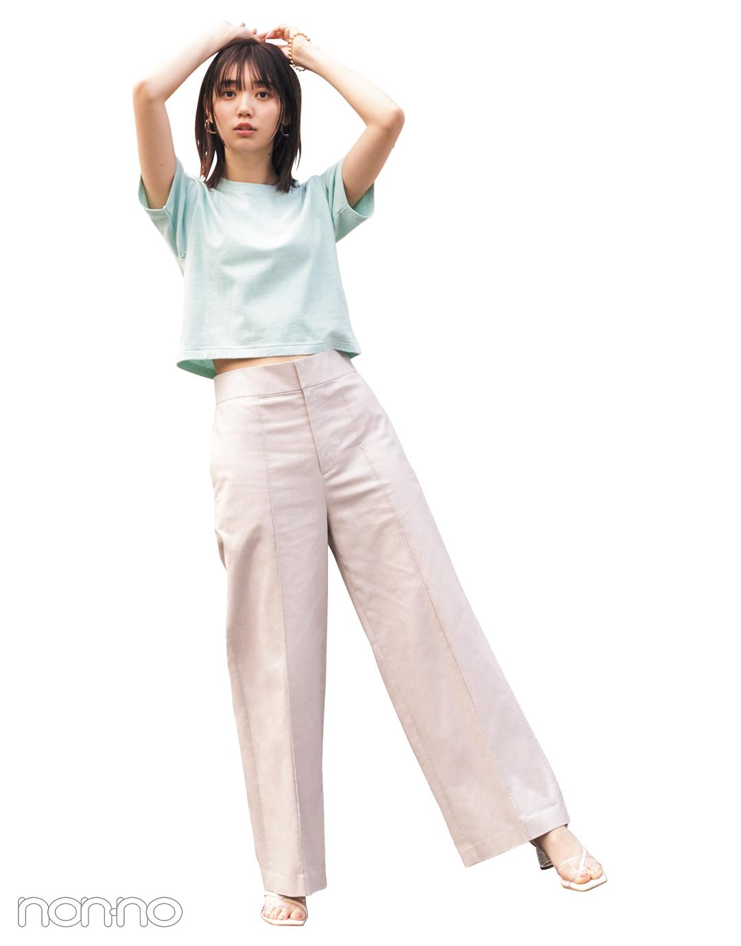 江野沢愛美が着るスタイルアップするYOUNG&OLSENの短丈Tシャツコーデ20
