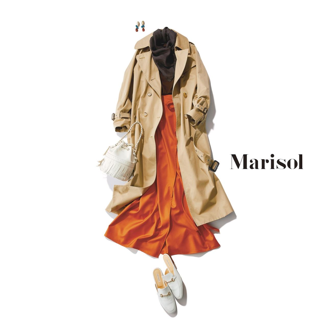 40代ファッション ベーシックトレンチ×オレンジスカートコーデ