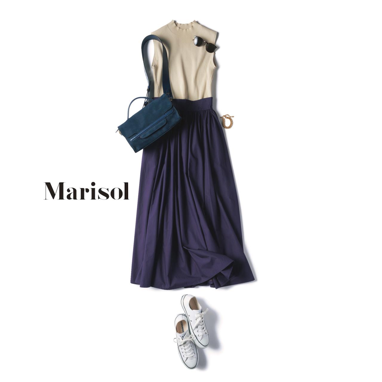 ファッション ベージュ×パープル配色の大人のスニーカーコーデ