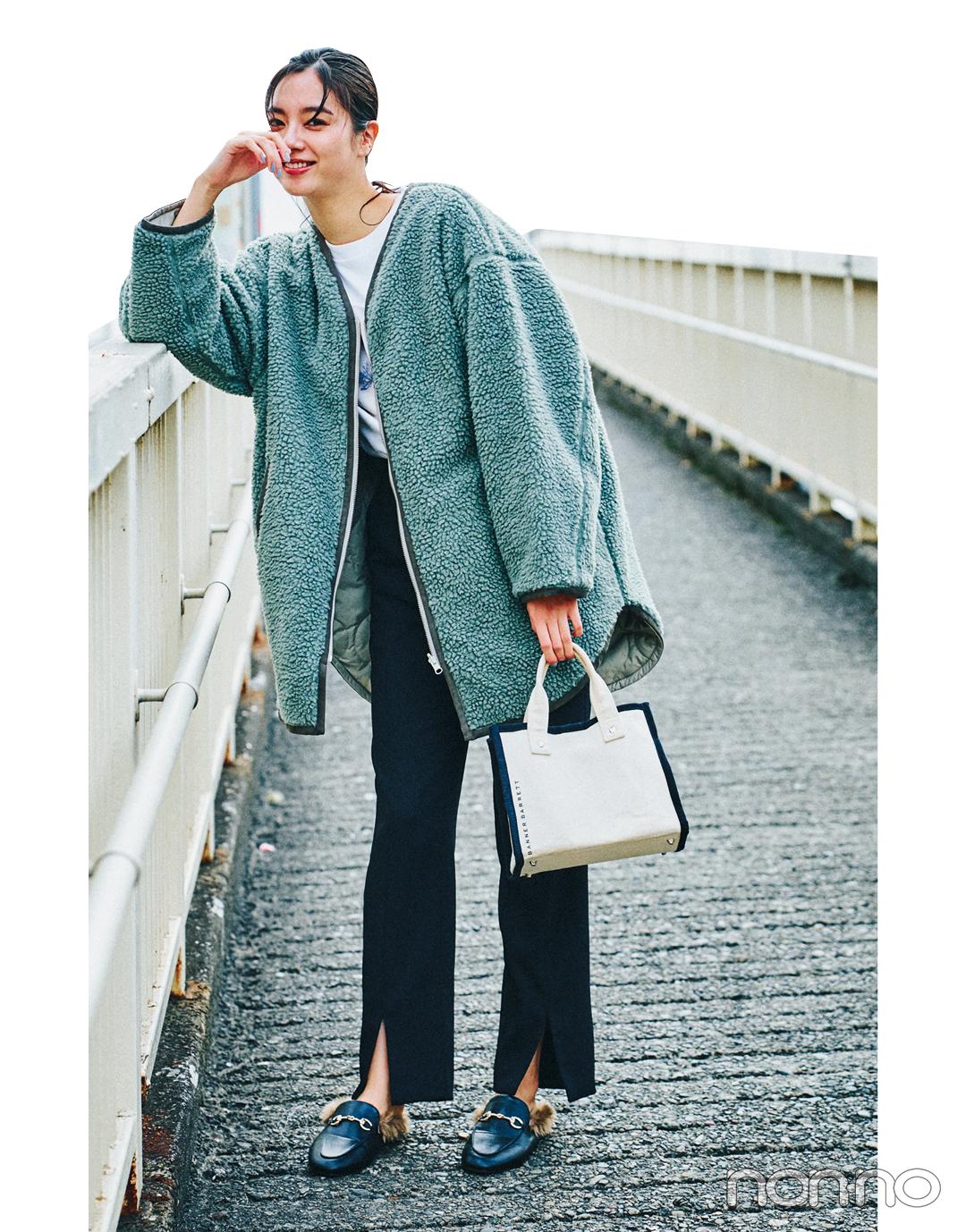 新川優愛の冬私服♡ ボリュームトップスには黒パンツですっきり女っぽシルエット_1_3