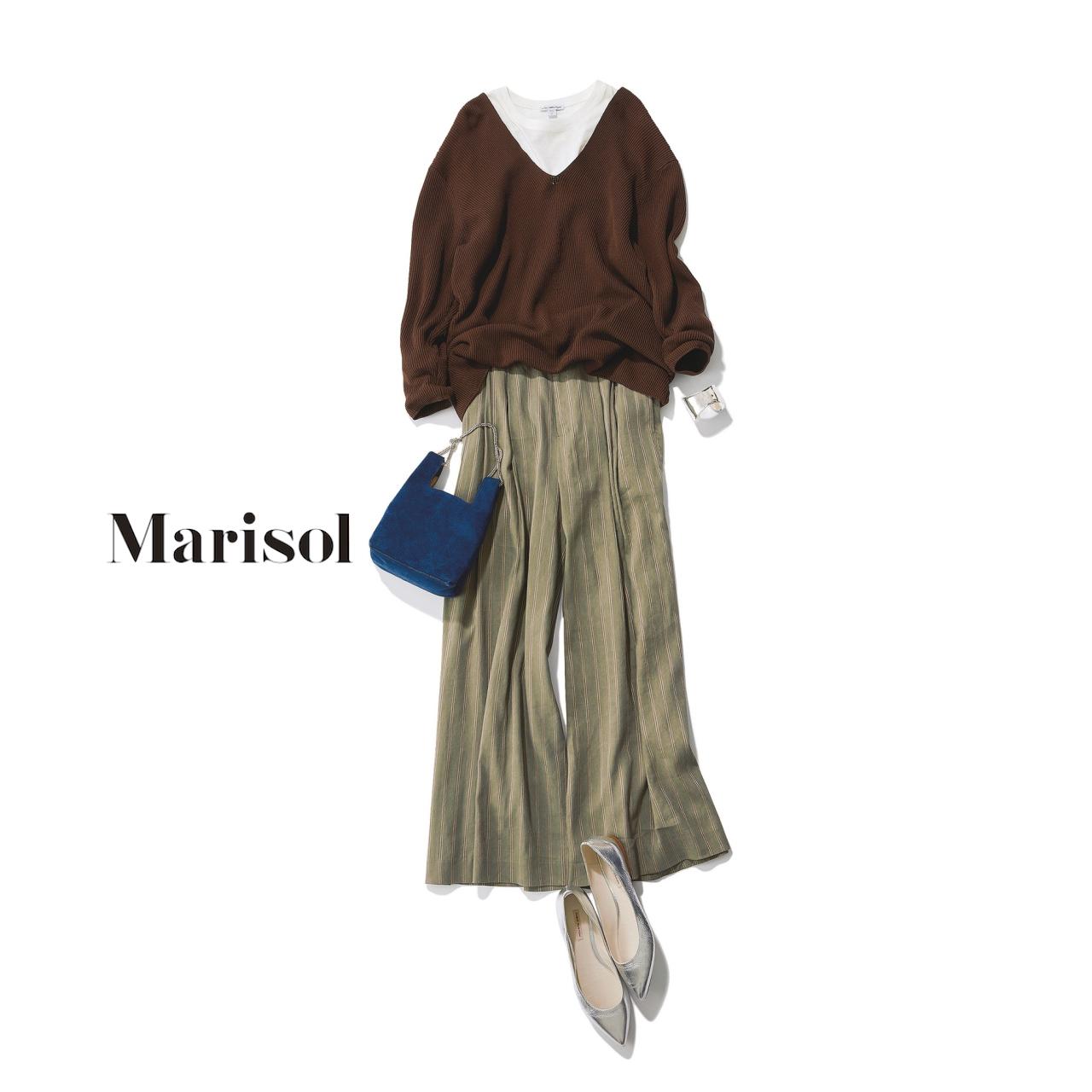 40代ファッション ニット×ゆるワイドパンツコーデ