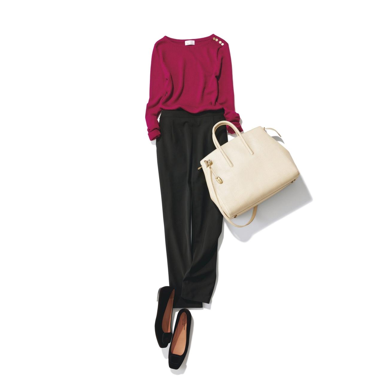 赤ニット×黒パンツのファッションコーデ