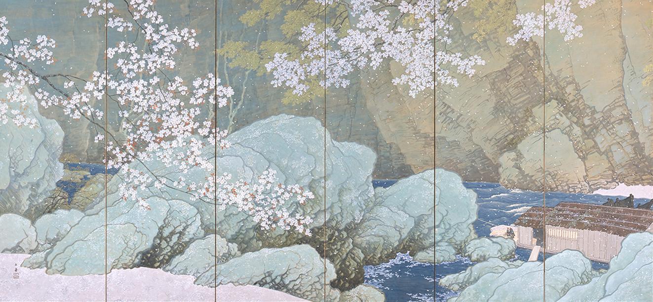 散りゆく美しい桜を描いた重要文化財の川合玉堂《行く春》は、年に一度のこの時期だけ鑑賞できる作品 川合玉堂《行く春》(左隻)1916 重要文化財