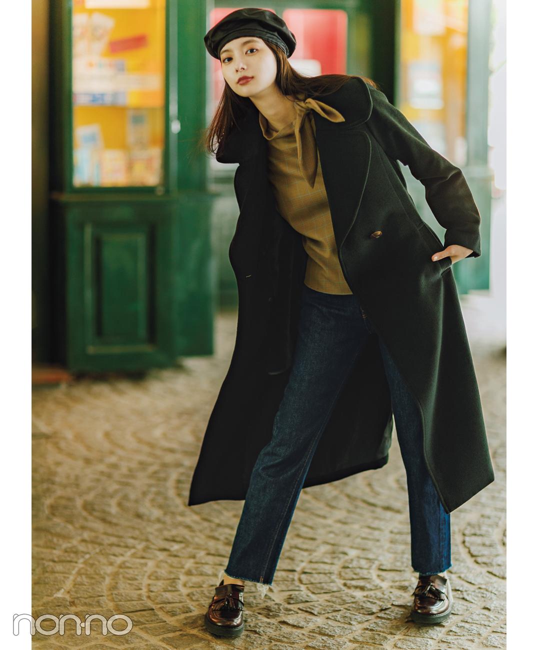 【パンツコーデ】ダークグリーンの新作コートで季節感たっぷり