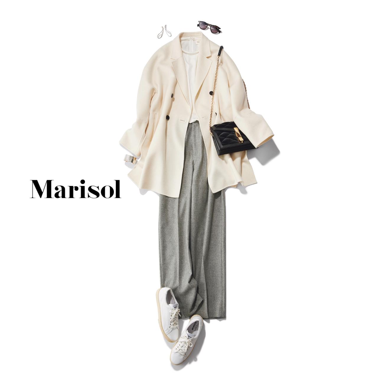 40代ファッション 白コート×グレーパンツ×白ブラウスコーデ